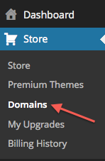 WordPress.com Domains Menu