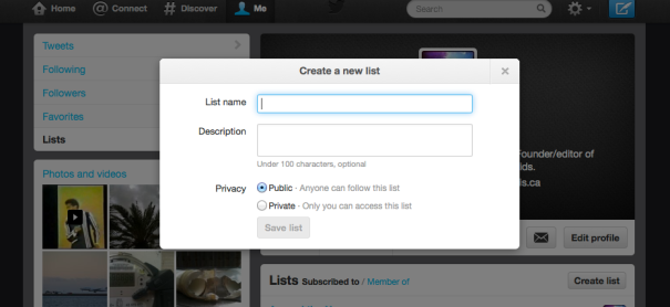 Twitter Create new list