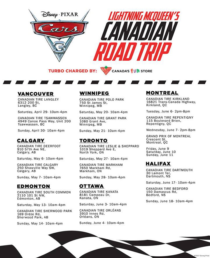 Cars 3 Canadian Road Trip