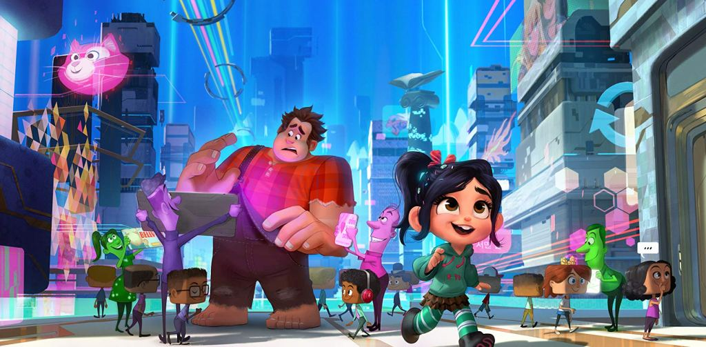 Ralph reads a sign while Vanellope rushes off.