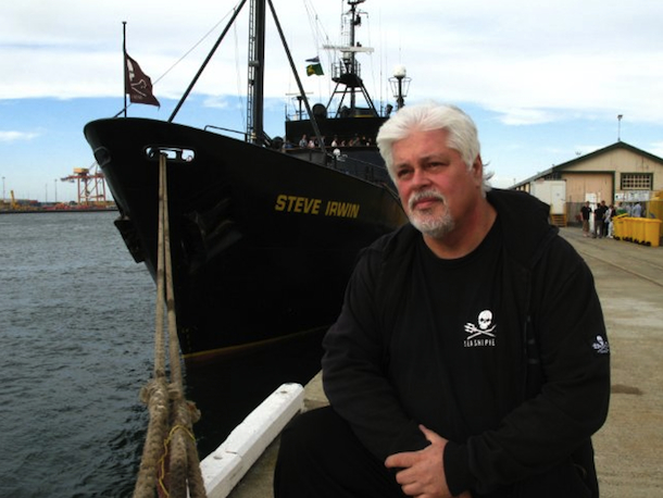 Paul Watson in front of the ship 'Steve Irwin'